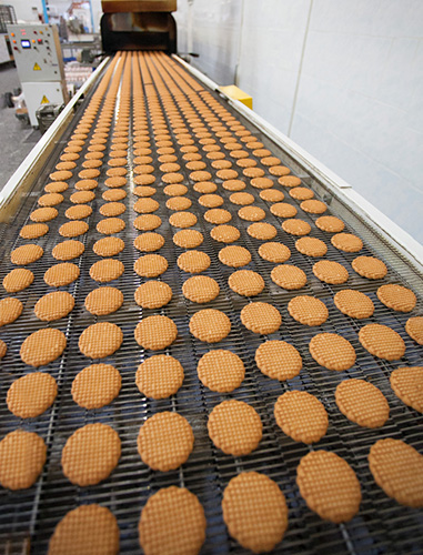 production of cookies in factory